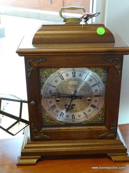 """VINTAGE HAMILTON CHIME MANTEL CLOCK. CHIME AND HANDS WORK AND COMES WITH KEY. MEASURES 12"""" X 6.5"""" X"""