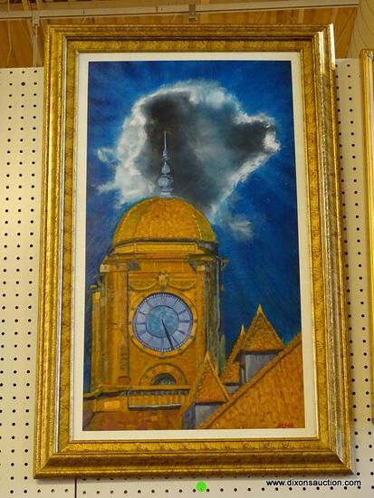 """""""CLOCK TOWER"""" FRAMED OIL ON PANEL BY ROBERT SESCO; IF YOU HAVE EVER DRIVEN THROUGH RICHMOND,"""