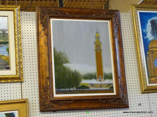 """""""CARILLON IN FOG"""" FRAMED OIL PAINTING BY ROBERT SESCO; THE CARILLON IS BOTH A MONUMENT AND A MUSICAL"""