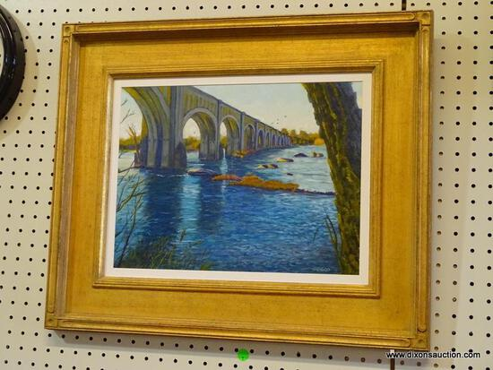 """""""BRIDGE BEHIND TREE"""" FRAMED OIL PAINTING BY ROBERT SESCO; THIS IS ANOTHER IN MY SERIES OF PAINTINGS"""