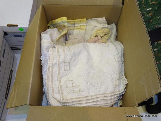 BOX LOT OF ASSORTED VINTAGE LINENS.