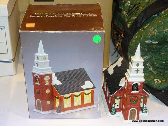 HAND PAINTED FINE PORCELAIN CHURCH. COMES IN ORIGINAL BOX.