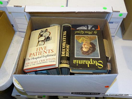 """BOX LOT OF ASSORTED BOOKS; INCLUDES """"FIVE PATIENTS, THE HOSPITAL EXPLAINED"""", """"BETTER HOMES AND"""