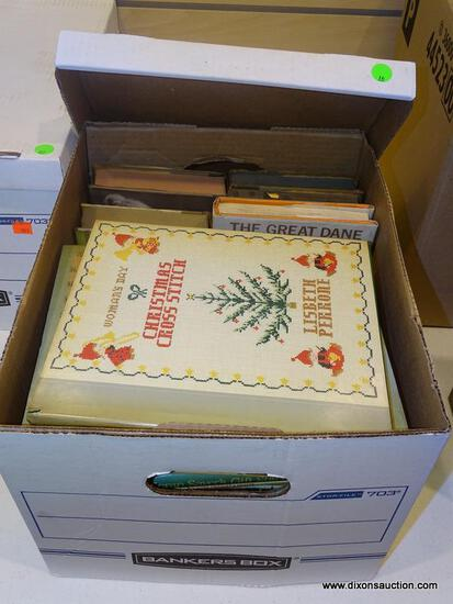 """BOX LOT OF ASSORTED BOOKS; INCLUDES """"ALL THROUGH THE HOUSE"""", """"WOMAN'S DAY CHRISTMAS CROSS STITCH"""","""