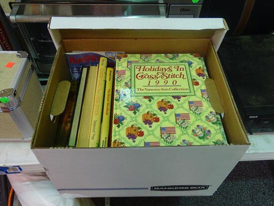 """BOX LOT OF ASSORTED BOOKS; INCLUDES """"HOLIDAYS IN CROSS STITCH 1987"""", """"EXECUTIVE PRIVILEGE"""" BY"""