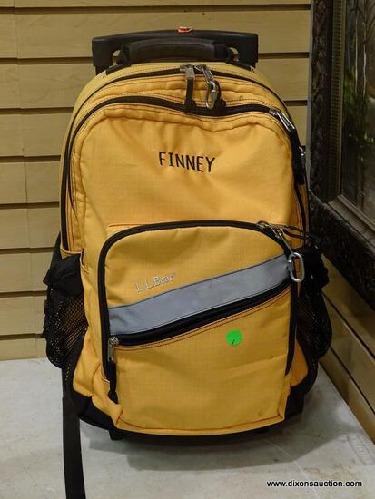 LOT OF ASSORTED BAGS; INCLUDES A L.L. BEAN YELLOW ROLLING BACKPACK (HAS THE NAME FINNEY), A SIERRA