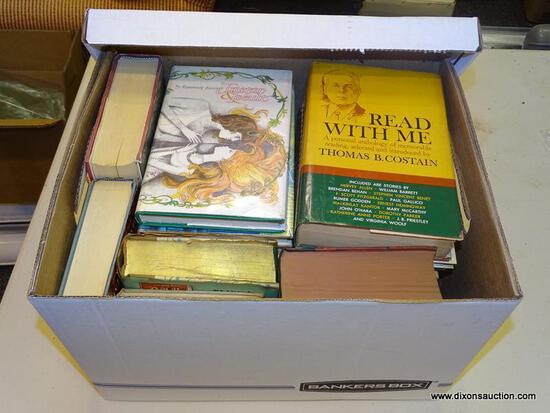 """BOX LOT OF ASSORTED BOOKS; INCLUDES """"READ WITH ME"""" BY THOMAS B. COSTAIN, """"THIS FIERY NIGHT"""" BY JOAN"""