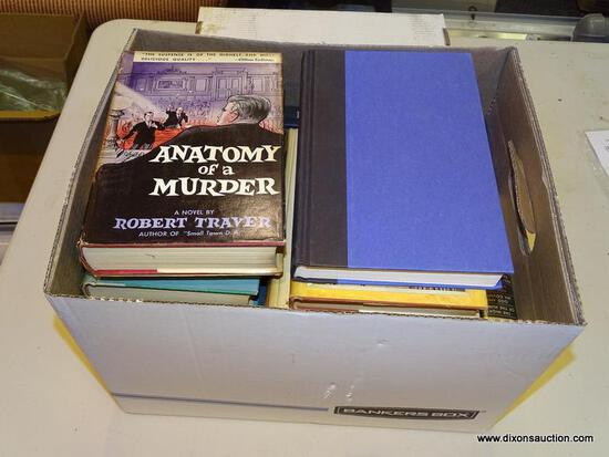 """BOX LOT OF ASSORTED BOOKS; INCLUDES """"ANATOMY OF A MURDERER"""" BY ROBERT TRAVER, """"THE FLIGHT OF THE"""