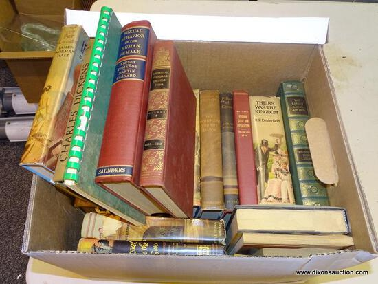 """BOX LOT OF ASSORTED BOOKS; INCLUDES """"BLEAK HOUSE"""" BY CHARLES DICKENS, """"SEXUAL BEHAVIOR IN THE HUMAN"""