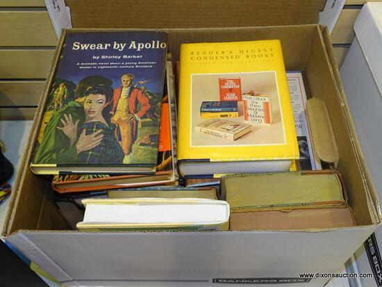 """BOX LOT OF ASSORTED BOOKS; INCLUDES """"RIZPAH"""" BY CHARLES E. ISRAEL, """"READER'S DIGEST CONDENSED BOOKS"""