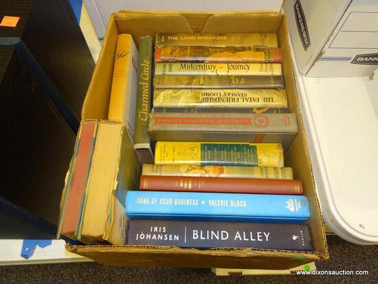 """BOX LOT OF ASSORTED BOOKS; INCLUDES """"THE HOUSE AT OLD VINE"""" BY NORAH LOFTS, """"THE NORTHERN LIGHT"""" BY"""