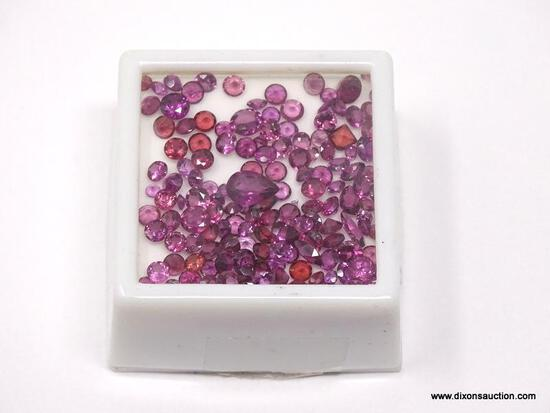 20CT OF MIXED SIZE AND SHAPE RHODOLITE GARNETS.