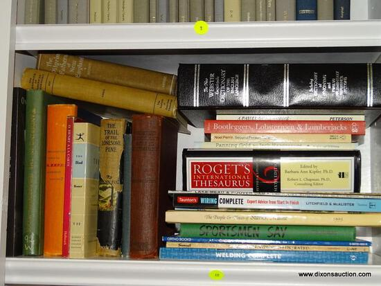 (LIBRARY) SHELF LOT OF MISCELL. BOOKS; LOT INCLUDES- TRAIL OF LONESOME PINE, WORKS OF O'HENRY,