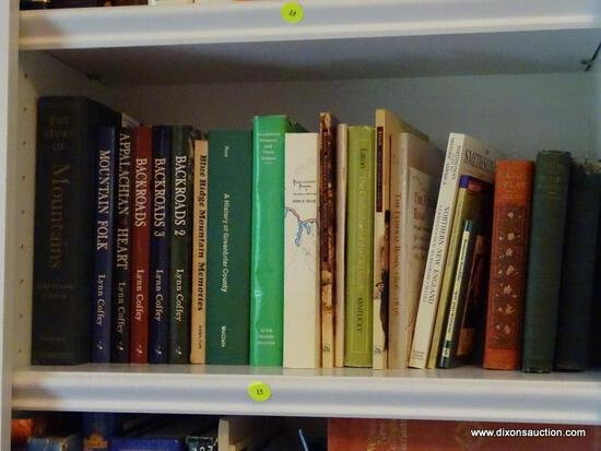 (LIBRARY) SHELF OF MISCELL. HISTORY BOOKS; LOT INCLUDES FOLK HISTORY BOOKS- 3 VOLUMES OF BACKROADS,