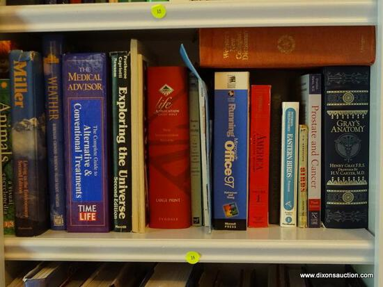 (LIBRARY) 2 SHELF LOT; LOT INCLUDES- EXPLORING THE UNIVERSE, GRAY'S ANATOMY, HISTORY OF THE WORLD,