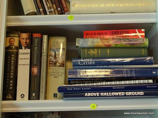 (LIBRARY) SHELF LOT OF HISTORICAL BOOKS; LOT INCLUDES- 2 BOOKS ON THEODORE ROOSEVELT, EISENHOWER,
