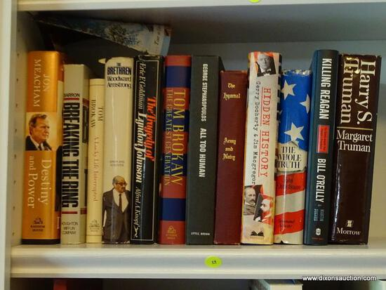 (LIBRARY) SHELF LOT OF HISTORICAL BOOKS; LOT INCLUDES- HARRY S. TRUMAN, GREATEST GENERATION, DESTINY