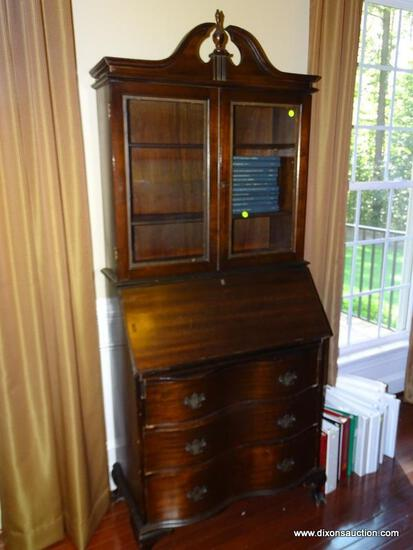 (LIBRARY) VINTAGE SECRETARY; MAHOGANY BALL AND CLAW GOVERNOR WINTHROP STYLE SECRETARY WITH