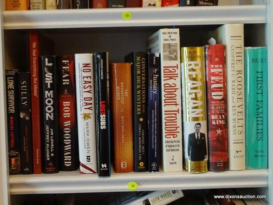 (LIBRARY) SHELF LOT OF HISTORICAL BOOKS; LOT INCLUDES- REAGAN, NO EASY DAY, LOST MOON, SULLU, THE