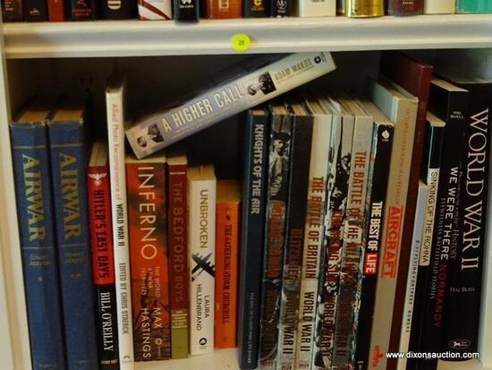 (LIBRARY) SHELF LOT OF WWII BOOKS; LOT INCLUDES- 2 VOLS OF AIR WAR, WORLD WAR II, INFERNO, A HIGHER