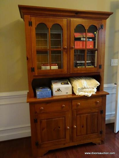 (LIBRARY) PINE HUTCH; BROYHILL PINE 2 PC HUTCH WITH 2 GLASS DOORS WITH SIDELIGHTS, 2 DRAWERS OVER 2