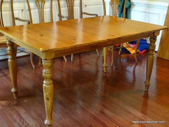 (LIBRARY) KITCHEN TABLE; PINE SHERATON LEG KITCHEN TABLE WITH 20 IN LEAF- WITHOUT LEAF- 60 IN X 38