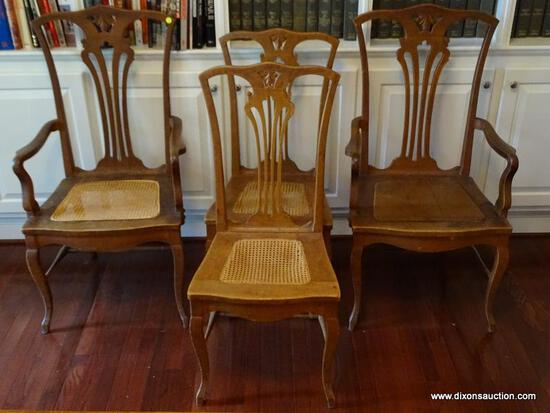 (LIBRARY) ANTIQUE CHAIRS; 4 ANTIQUE OAK CHIPPENDALE STYLE CHAIRS WITH CANE BOTTOM SEATS ( 1 NEEDS TO