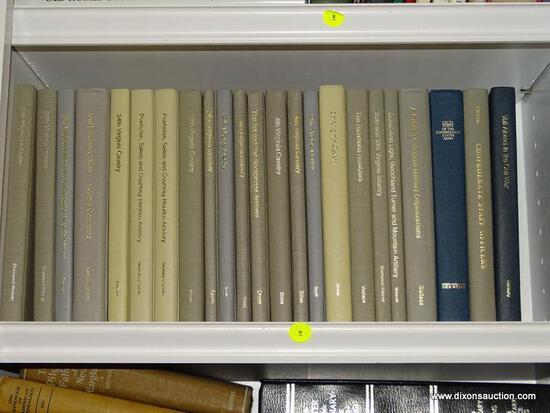 (LIBRARY) SHELF OF CIVIL WAR BOOKS; LOT INCLUDES THE VIRGINIA REGIMENTAL HISTORIES SERIES- 23 BOOKS-