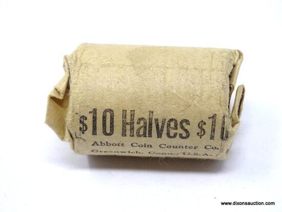 SILVER HALF DOLLAR, $10 BANK ROLL. DATES VARY.