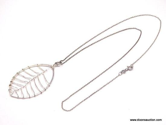 NATIVE AMERICAN ARTISAN, STERLING SILVER BIRCH LEAF PENDANT NECKLACE. FEATURES DELICATELY WRAPPED
