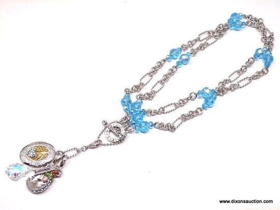"""FABULOUS DESIGNER, KIRK'S FOLLY """"ALWAYS AND FOREVER I REMEMBER YOU BY"""" SILVERTONE AND BRILLIANT BLUE"""