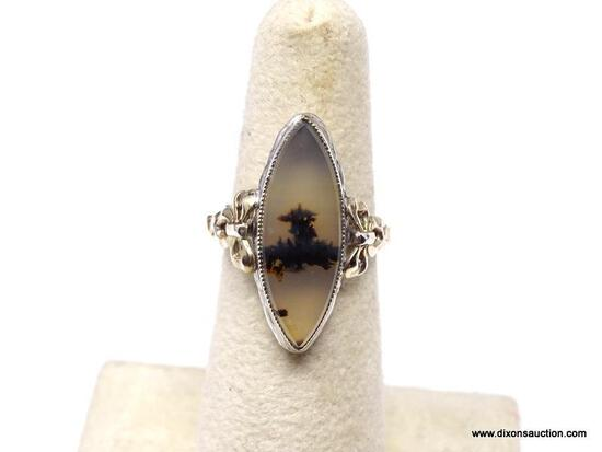 RARE 10K YELLOW GOLD AND STERLING SILVER MONTANA MOSS AGATE RING. THIS LARGE MARQUISE SHAPED STONE