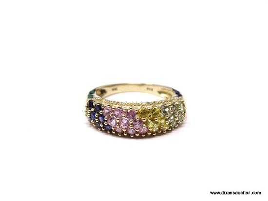 GORGEOUS DESIGNER 10K YELLOW GOLD MULTI COLOR SAPPHIRE GEMSTONE RING. THE SAPPHIRES ARE DARK BLUE,