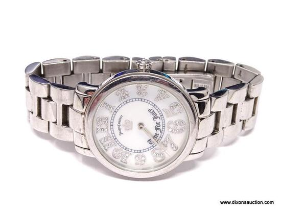"""JUICY COUTURE, """"TIME FOR JUICY"""" LADIES' QUARTZ WRISTWATCH. FEATURES LARGE, EASY-TO-READ, CRYSTAL"""