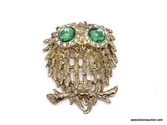 VINTAGE, SIGNED NAPIER, GOLD TONE OWL BROOCH/PIN. FEATURES A TEXTURED FEATHER BODY WITH LARGE, SHINY
