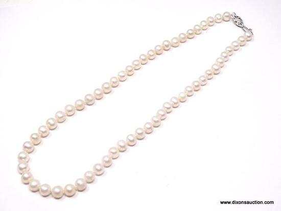 """BEAUTIFUL SINGLE STRAND, HAND KNOTTED, GENUINE WHITE PEARL NECKLACE. MEASURES 18"""", WITH A STERLING"""