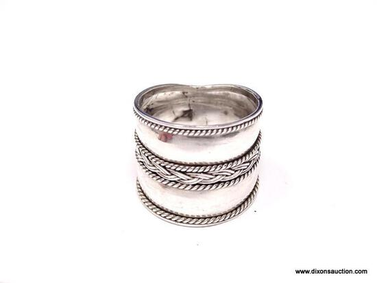 VINTAGE STERLING SILVER EXTRA WIDE DOUBLE BAND, CURRENTLY A SIZE 8. HAS BEEN ACID TESTED FOR PURITY.