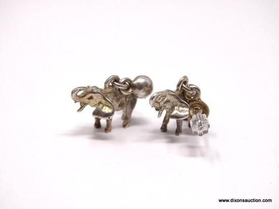 STERLING SILVER ELEPHANT POST EARRINGS, WITH UPTURNED TRUNKS (SYMBOLIZING GOOD LUCK). EARRINGS