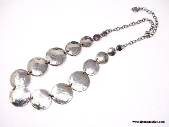 VINTAGE, FRENCH DESIGNER SIGNED LILI LA PIE SILVER PLATED DISC NECKLACE. FEATURES 7 GRADUATED