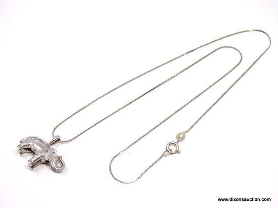 """STERLING SILVER, GOOD LUCK ELEPHANT PENDANT, SUSPENDED FROM AN 18"""" SERPENTINE CHAIN. IN MANY"""