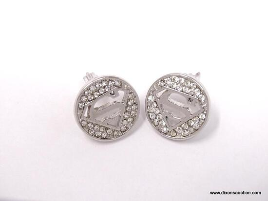 """COLLECTIBLE DC COMICS SUPERMAN SILVER TONE AND CRYSTAL POST EARRINGS. THE 5/8"""" ROUND PAIR FEATURE"""