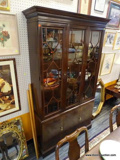 (WALL) CHINA CABINET; WALNUT CHINA CABINET WITH A TOP SECTION THAT HAS 3 LACED, GLASS PANELS 2 OF