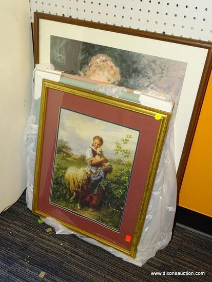 (WALL) LOT OF FRAMED PRINTS; 4 PIECE LOT TO INCLUDE A PRINT OF A FARM GIRL HOLDING A LAMB, 2 PRINTS