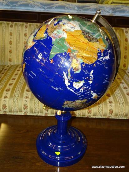 MAGNIFICENT BLUE LAPIS GEMSTONE SHOWPIECE WORLD GLOBE. A MUST HAVE FOR EVERY GEMSTONE COLLECTOR!
