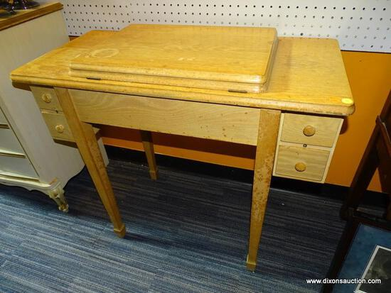 (WALL) SEWING MACHINE TABLE; PINE 4-DRAWER SEWING TABLE WITH SINGER TOUCH & SEW MODEL 629 SEWING