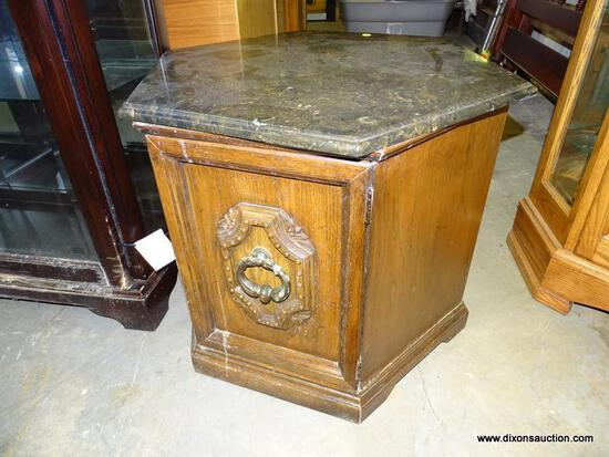 (GARAGE) END TABLE; OAK GRAINED, MARBLE TOP OCTAGONAL TOP END TABLE WITH FAUX WOOD DOOR- 24 IN X 24