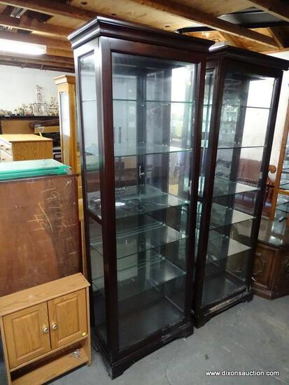 (GARAGE) DISPLAY CASE; ONE OF A PAIR OF CHERRY DISPLAY CASES, WITH BEVELED GLASS SLIDING DOOR, 2