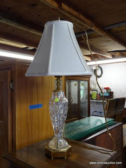 (GARAGE) LAMP; HEAVY CRYSTAL AND BRASS LAMP WITH SILK SHADE- 24 IN H