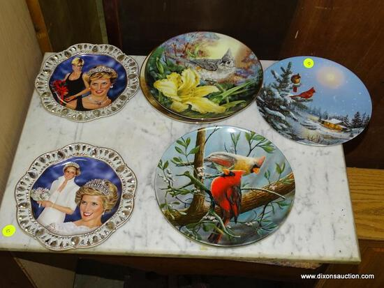 (GARAGE) COLLECTOR PLATES- 6 BIRD COLLECTOR PLATES FROM KNOWLES AND SOUTHERN LIVING AND 2 LADY DIANA