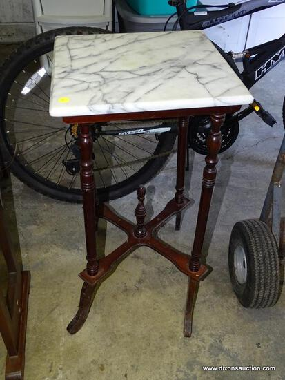 (GARAGE) TABLE; CHERRY MARBLE TOP TABLE, TURNED LEGS, CROSS STRETCHER BASE WITH CENTER FINIAL- 14 IN